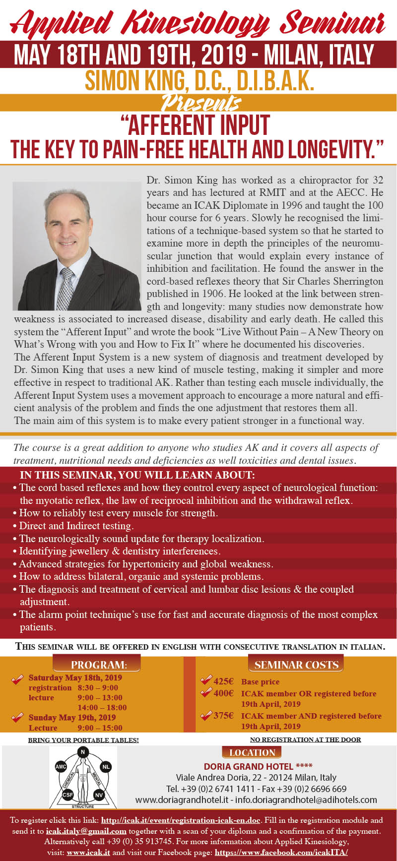 "Dr. Simon King - ""Afferent Input, The Key to Pain-free Health and Longevity"" May 18th and 19th, 2019 - Milan, Italy"